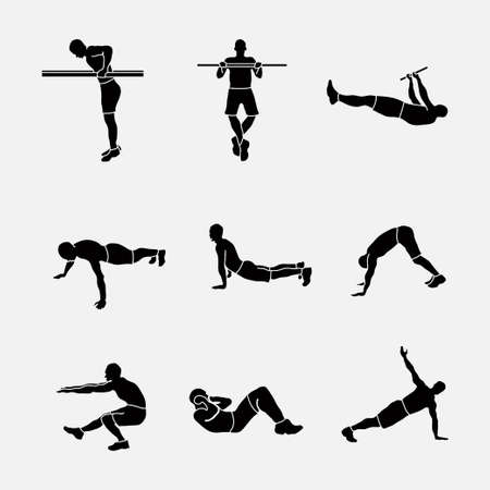 sports exercise, a set of sports icons, silhouettes of athletes, sports exercise symbol piktograma, fully editable image Vettoriali