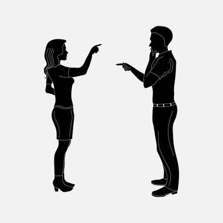 image of mister and women, addresing stock Fully editable vector image