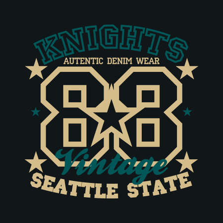 T-shir Knight, original sport, college sport, vintage T-shirt inscription typography, graphic design, emblem Ilustrace