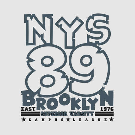 T-shirt New york, Brooklyn sports, athletics Typography, Fashion college, sport design the logo, the number of floral patterns, graphic print image, design fashion, original design clothing
