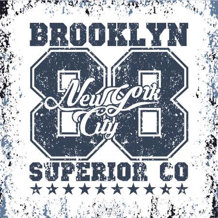 New York typography, t-shirt vintage, design graphic, printing man NYC, original design clothing, clothing, graphic design, emblem Stock Illustratie