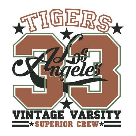 Los Angeles t-shirt, Tigers graphic, sport emblem design, graphic Print label Ilustrace
