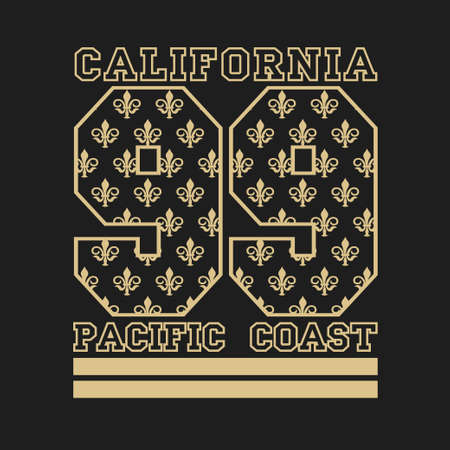 T-shirt California, California sports, athletics Typography, Fashion college, sport design the logo, the number of floral patterns, graphic print image, design fashion Typography, original design clothing