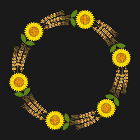 wreath with sunflowers and wheat, decorative wreath, a symbol of fertility, flat design, vector image Stock Illustratie