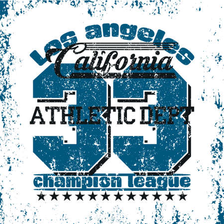 Los Angeles Athletics, typography stamp, California t-shirt, vector emblem graphics, vintage sport wear tee print design Ilustrace