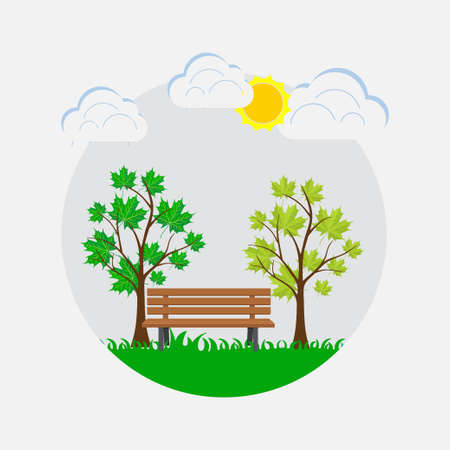 bench in the park, resting place, spring park, summer mood, flat style, vector image