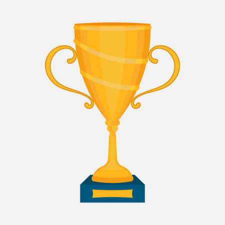 Gold Cup, the award winner, first place in the competition, slim design, vector image