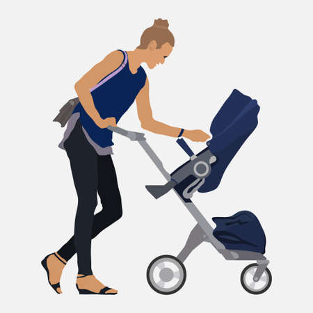 Girl with a stroller, walk with the child, mom and baby, flat style, vector image