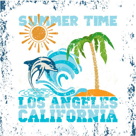 t-shirt California, summer time, Los angeles design, granje texture, surfing t-shirts, typography graphic design emblem Ilustrace