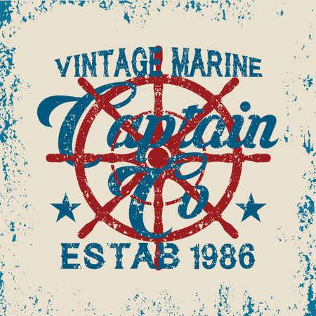 drawing t-shirt NYC, nautical design, sailor vector, printing badge, applique label