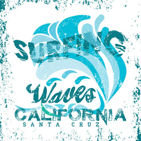 t-shirt surfing california, graphic print design, granje texture, surfers print stamp, vector surf apparel