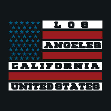 Los Ageles, California a printing house with an American flag, shirt fashion, graphic original graphic style