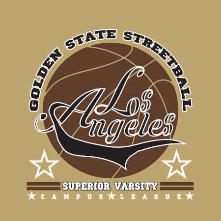 Los Angeles t-shirt, basketball graphic, sport emblem design, graphic Print label Reklamní fotografie