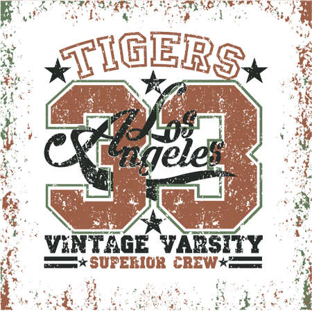 Los Angeles t-shirt, Tigers graphic, sport emblem design, graphic Print label Reklamní fotografie