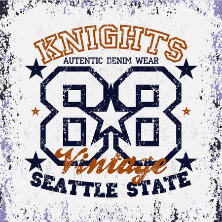 T-shir Knight, original sport, college sport, vintage T-shirt inscription typography, graphic design, emblem Reklamní fotografie