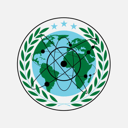 laurel wreath icon with an atom, flat design, vector image
