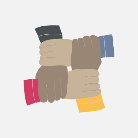 teamwork concept with four human hands in different colors, vector image, flat design Illustration