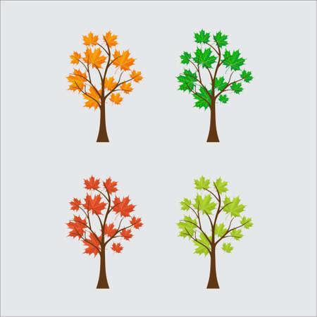 seasonal trees, colorful leaves, season, time, nature slim design vector image