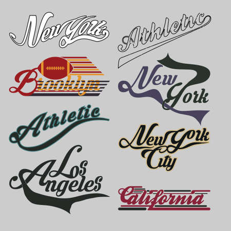set of labels New York City, California, Brooklin athletic, sports T-shirt, original design, typography, flat style, vector imageset of labels New York City, California, athletic, sports T-shirt, original design, typography, flat style, vector image Vettoriali