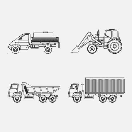 icons transport, transport loading, vtonkih lines image Stock Photo