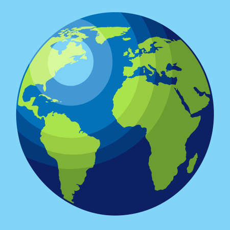 planet Earth icon. Flat planet Earth icon. Flat design, illustration for web banner, web and mobile, infographics. Vector icon