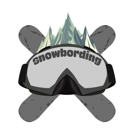 Snowboarding goggles, extreme  and template. Winter sports snowboard shop icon. Mountain Adventure signs, vector design