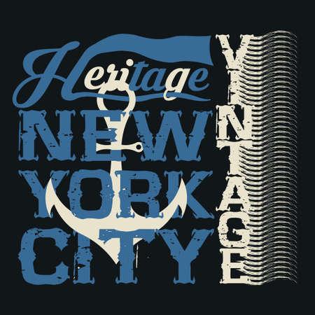 drawing t-shirt NYC, nautical design, sailor, printing badge, applique label
