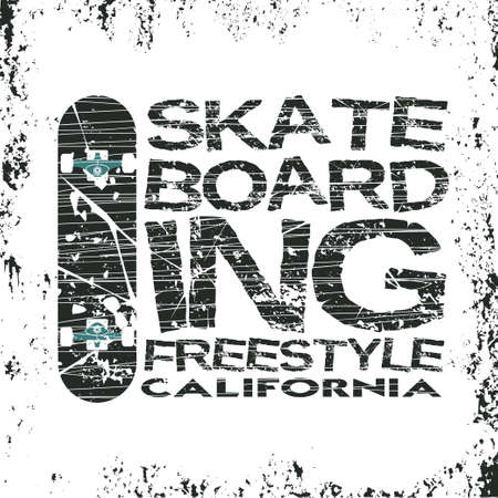 skateboarding t-shirt, T-shirt inscription, typography graphic design, California skateboard