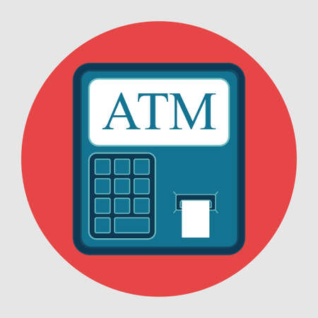 Icon ATM withdrawals from card, flat design, financial capacity, vector image