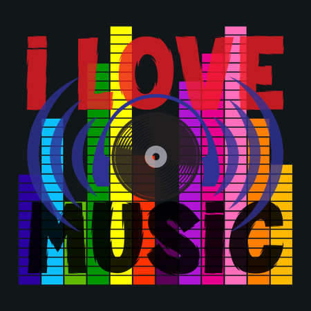 i love music typography, disco, t-shirt graphics, ve tr image