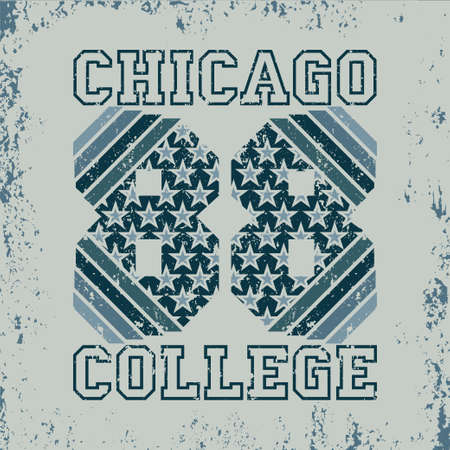 T-shirt Chicago, athletics Typography, Fashion college, sport design the logo, the number of floral patterns, graphic print image, design fashion Typography, original design clothing Logo