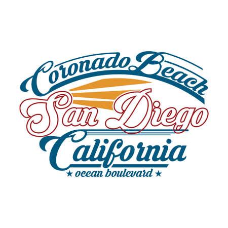 t-shirt surfing in San Diego, California. Retro design