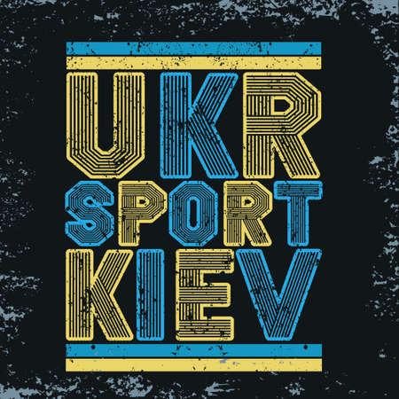 ukraine typography, t-shirt kiev, design graphic, printing man UKR, original design clothing 向量圖像