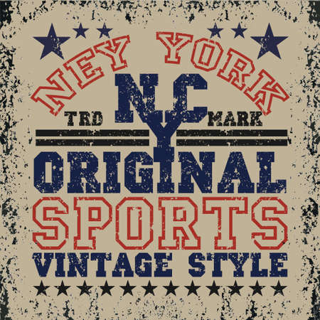 New York typography, t-shirt brooklyn, vintage graphic, printing man NYC, original design clothing, clothing, graphic design, emblem Ilustração