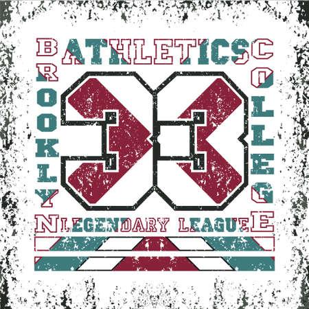 T-shirt New York, atletics Typography, Fashion brooklyn, sport design the logo, the number of floral patterns, graphic print image, design fashion Typography, original design clothing Ilustração