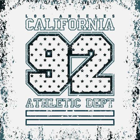T-shirt LA, sport college, Los Angeles CA, sport design, LA fashion typography, graphics sport, stylish printing design for sportswear apparel. original wear. Concept in modern style for print production Ilustração