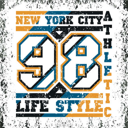 T-shirt New York, atletics Typography, Fashion college, sport design the logo, the number of floral patterns, graphic print image, design fashion Typography, original design clothing
