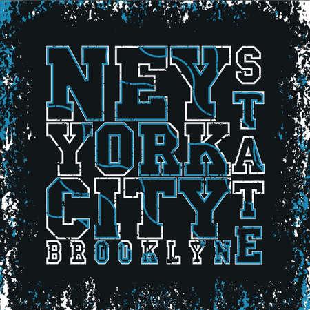 T-shirt New York, brooklyn sport, sport design, new york fashion, stylish printing design for sportswear apparel, original wear, concept in modern style for print production Ilustração