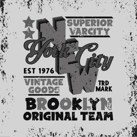sport t-shirt, NYC vintage graphic, Brooklyn sport emblem, graphic Print label