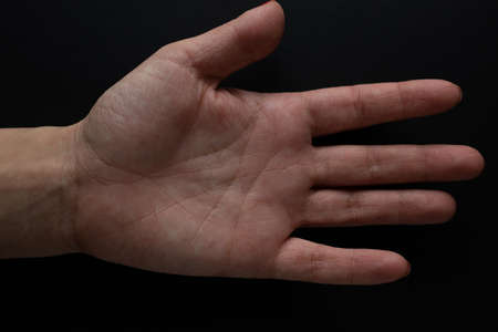 Left palm and life line, divination by hand