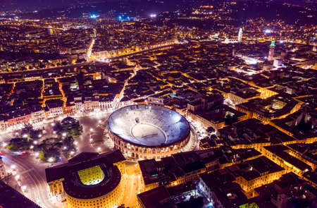 Night city skyline, top view Arena of Verona , Veneto, Italy