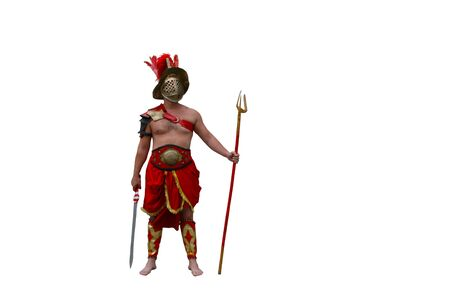 Gladiator is in full growth in the protective armor of red. Stock fotó
