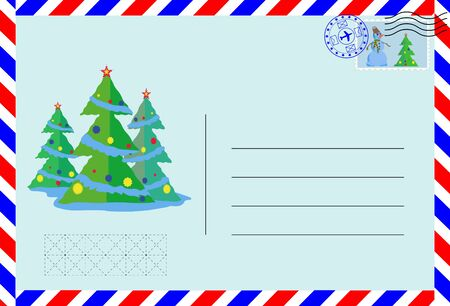 Air envelope with postage stamp and pattern of Christmas trees. Illusztráció