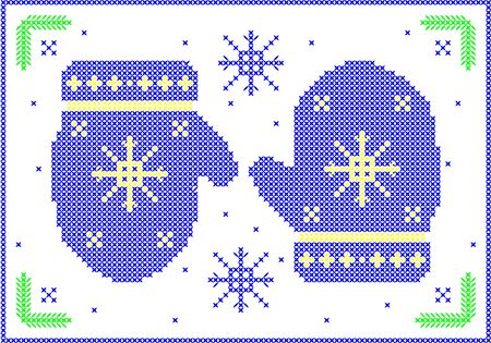 Cross-stitch winter mittens with snowflakes. Illusztráció