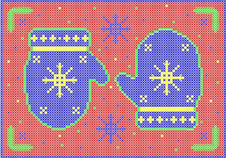 Cross stitch winter mittens with snowflakes on red background. Illusztráció