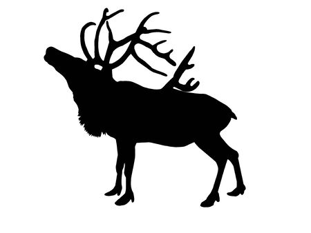 Black silhouette of a reindeer with horns standing in profile.