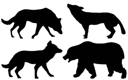 Black silhouettes of a wolf, a bear and a dog on a white background looking forward from the side. Stock fotó
