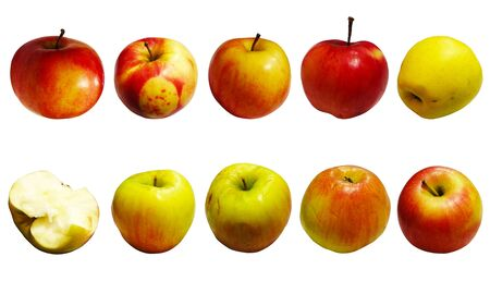 Ten apples in different angles on a white background of different colors.