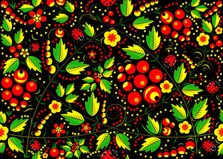 Pattern in the Russian tradition of Khokhloma painting.