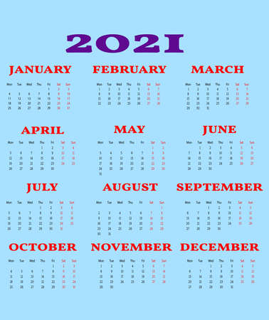 Calendar 2021 year - vector illustration. Week starts on Monday.